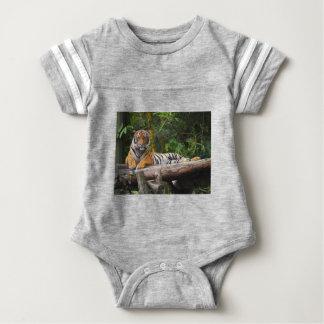 Hi-Res Malay Tiger Lounging on Log Baby Bodysuit