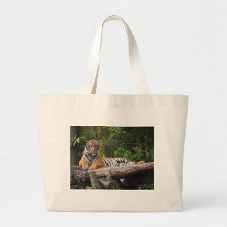 Hi-Res Malay Tiger Lounging on Log Large Tote Bag