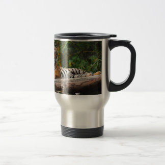 Hi-Res Malay Tiger Lounging on Log Travel Mug
