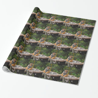 Hi-Res Malay Tiger Lounging on Log Wrapping Paper