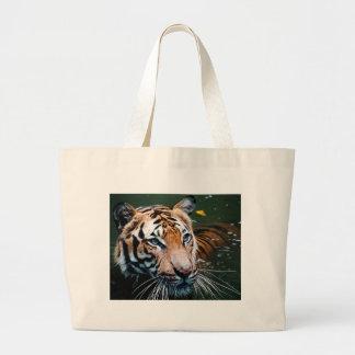 Hi-Res Tiger in Water Large Tote Bag
