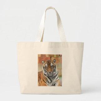 Hi-Res Tigres in Contemplation Large Tote Bag