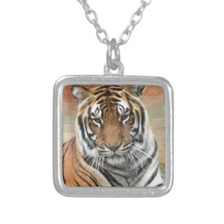 Hi-Res Tigres in Contemplation Silver Plated Necklace