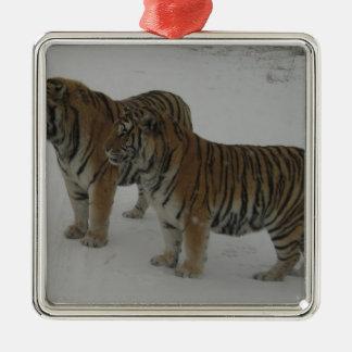 Hi-Res Two Siberian Tigers Metal Ornament