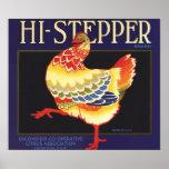 Hi Stepper Chicken Vintage Fruit Crate Label Art Print