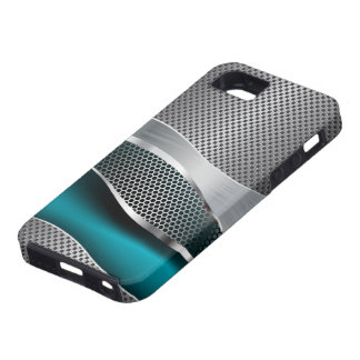 Hi Tech Futuristic Mesh Chrome Peacock Blue iPhone 5 Cases