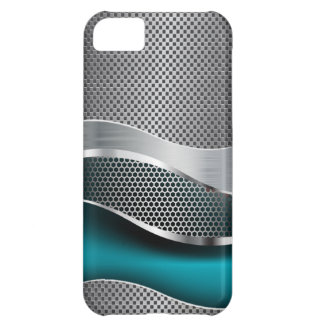 Hi Tech Futuristic Mesh Chrome Peacock Blue iPhone 5C Cover