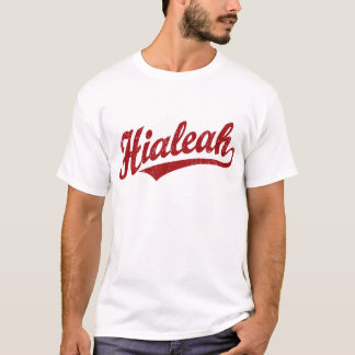 Hialeah script logo in red distressed T-Shirt