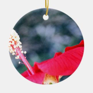 Hibiscus 4 round ceramic ornament