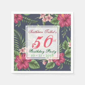 Hibiscus 50th Birthday Party Paper Napkin