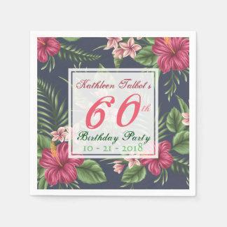 Hibiscus 60th Birthday Party Paper Napkin