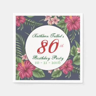 Hibiscus 80th Birthday Party Paper Napkin