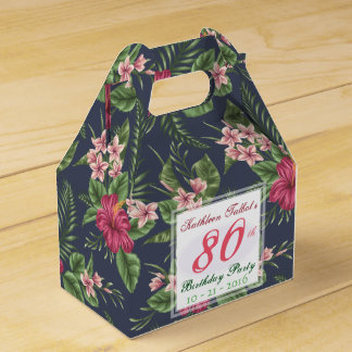 Hibiscus 80th Birthday Party Thank You Favor Box