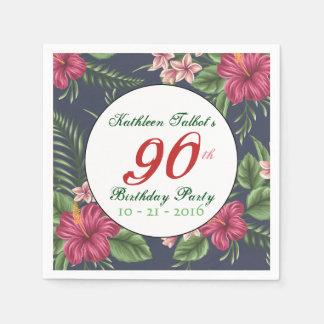 Hibiscus 90th Birthday Party Paper Napkin