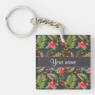 Hibiscus and Palm Fronds Double-Sided Square Acrylic Keychain