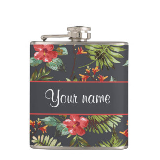 Hibiscus and Palm Fronds Flasks