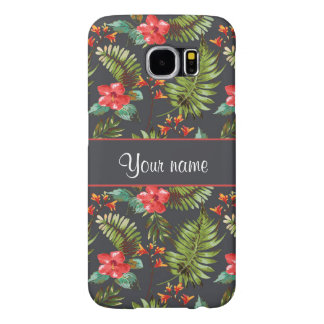 Hibiscus and Palm Fronds Samsung Galaxy S6 Cases