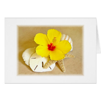 Hibiscus and Seashells soft edges Card
