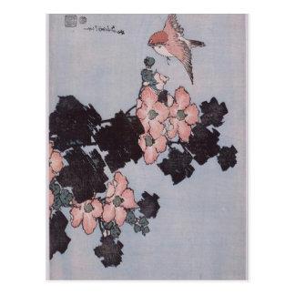 Hibiscus and Sparrow by Katsushika Hokusai Postcard