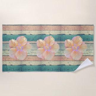 Hibiscus and weathered wood beach towel