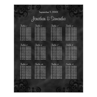 Hibiscus Black 12 Tables Wedding Seating Chart Poster