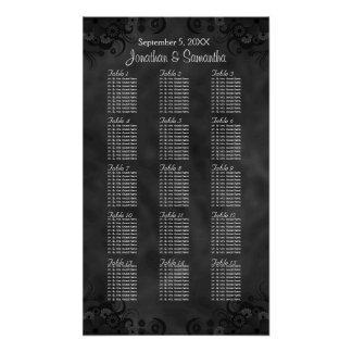 Hibiscus Black 15 Wedding Tables Seating Charts Poster