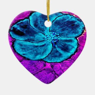 Hibiscus Blues Ceramic Ornament