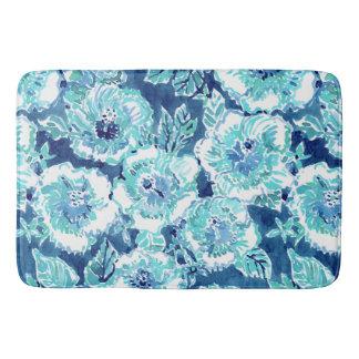 HIBISCUS BOUNTY Blue Tropical Hawaiian Floral Bath Mat