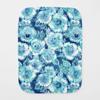 HIBISCUS BOUNTY Blue Tropical Hawaiian Floral Burp Cloth