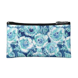 HIBISCUS BOUNTY Blue Tropical Hawaiian Floral Cosmetic Bag