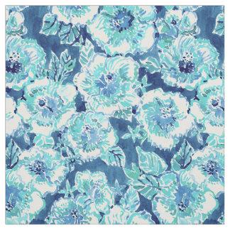HIBISCUS BOUNTY Blue Tropical Hawaiian Floral Fabric