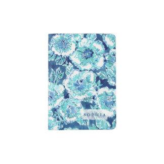 HIBISCUS BOUNTY Blue Tropical Hawaiian Floral Passport Holder