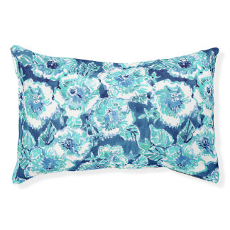HIBISCUS BOUNTY Blue Tropical Hawaiian Floral Pet Bed