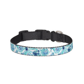HIBISCUS BOUNTY Blue Tropical Hawaiian Floral Pet Collar