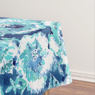 HIBISCUS BOUNTY Blue Tropical Hawaiian Floral Tablecloth