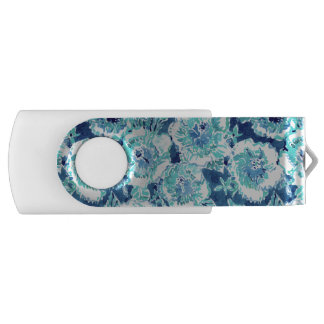 HIBISCUS BOUNTY Blue Tropical Hawaiian Floral USB Flash Drive