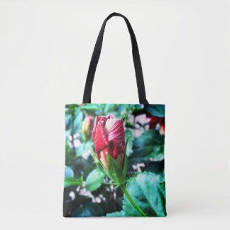Hibiscus bud about to bloom tote bag