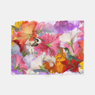 Hibiscus Butterflies Small Fleece Blanket