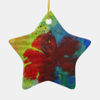 hibiscus ceramic ornament