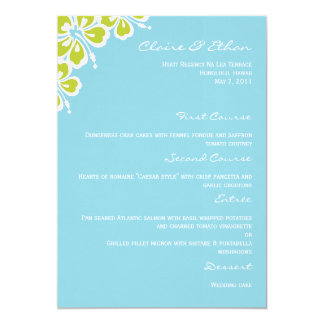 Hibiscus Delight Wedding Menu Card - Sky Blue