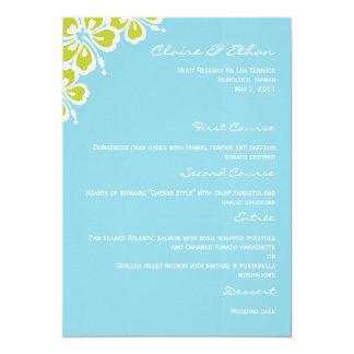 "Hibiscus Delight Wedding Menu Card - Sky Blue 5"" X 7"" Invitation Card"