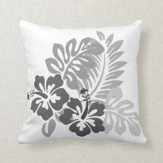 Hibiscus Design Black and White Collection Throw Pillow