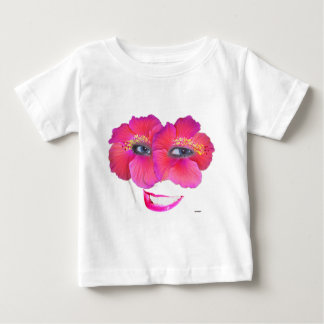 Hibiscus Face with Smile - Pink Baby T-Shirt