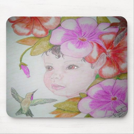 Hibiscus Fairy and Hummingbirds Mouse Pads