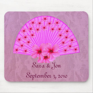 Hibiscus Fan on Pink Lace Mouse Pad