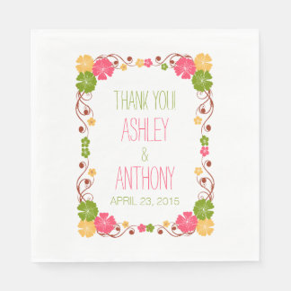 Hibiscus Floral Frame Personalized Wedding Paper Napkins