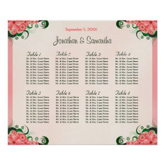 Hibiscus Floral Pink 8 Table Wedding Seating Chart