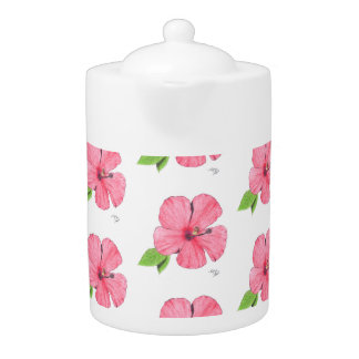 Hibiscus Floral Sketch Teapot