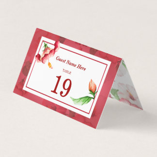 Hibiscus Floral Wedding Table Number Folded Card