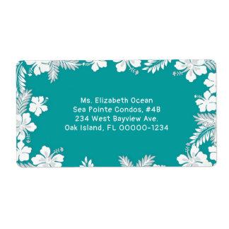 Hibiscus Flower Border Teal Custom Shipping Label